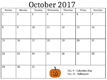 Blank Monthly Calendar Skills 2017/18 School Year (Editable)