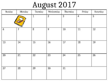 Blank Monthly Calendar Skills 2017/18 School Year (Editable)