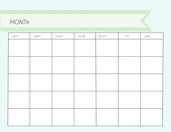 Blank Monthly Calendar Washi Tape Blues 12 Assorted