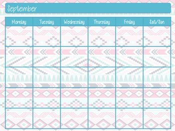Blank Monthly Calendar With Aztec Print