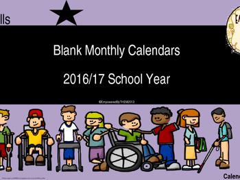 Blank Monthly Calendars 2016/17 School Year (editable)