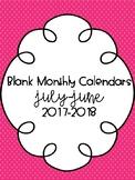 Blank Monthly Calendars 2017-2018 {FREEBIE!}