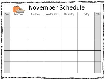 Blank Monthly Calendars