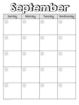 Blank Monthly Calendars Templates
