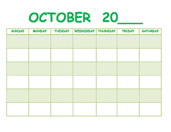 Blank Monthly Calendars for 2016-2017 School Year