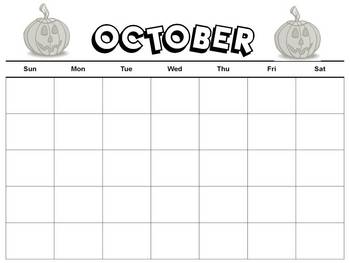 Blank Monthly Calendars for Every Month of the Year  B&W
