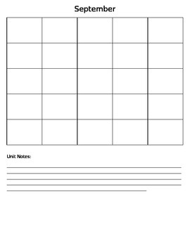 Blank Monthly Planner with Unit Planner