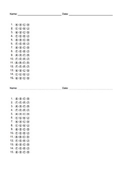 Blank Multiple Choice Bubble Sheet Answer Documents/Scantrons (10-25 Questions)