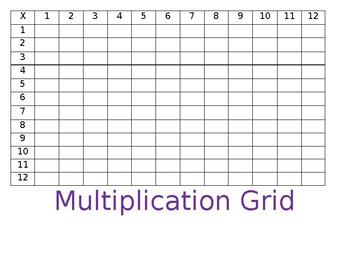 Blank Multiplication Grid