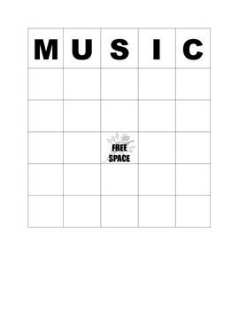 Blank Music Bingo board