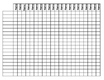 Blank Name Chart