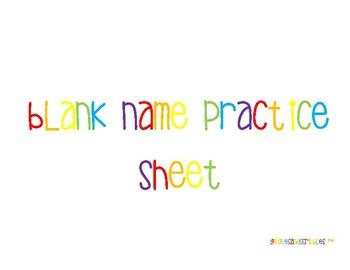 Blank Name Practice Sheet