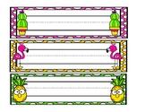 Blank Nametags - Flamingos, Pineapple, and Cactus