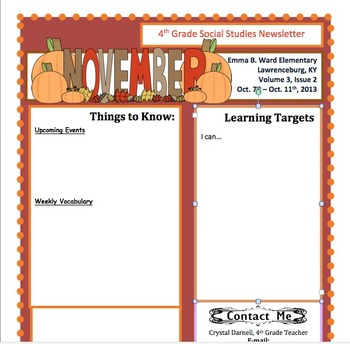 blank newsletter template november by crystal darnell tpt
