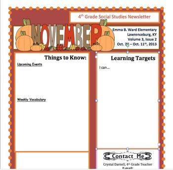 original-932829-1 November Teacher Newsletter Template on owl theme, for first grade, free preschool,