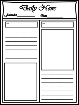 blank newspaper template for multi uses by kim cherry tpt. Black Bedroom Furniture Sets. Home Design Ideas