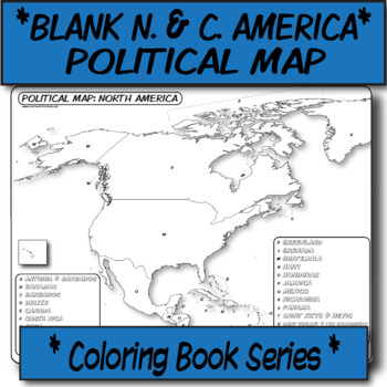 *Coloring Book Page* N. America & C. America Political Map