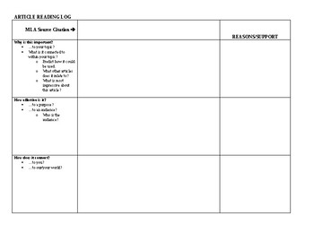 Blank Notetaking Matrix for a Research Article