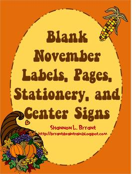 Blank November Labels, Pages, Stationery, and Center Signs