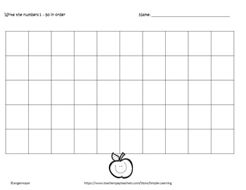 Blank Number Chart 50 spaces
