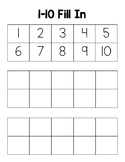 Blank Number Chart Fill-In