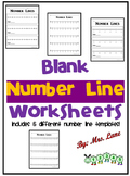 Blank Number Line Worksheets (Includes 5 Different Number