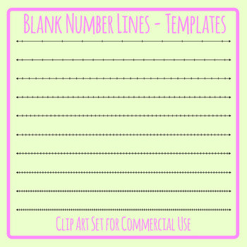 Blank Number Line Templates Clip Art Set Commercial Use