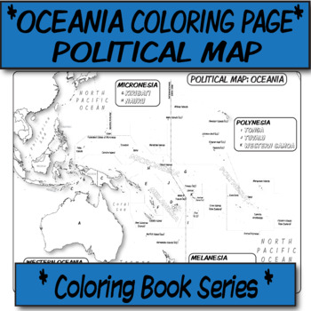 *Coloring Book Page* Oceania Political Map
