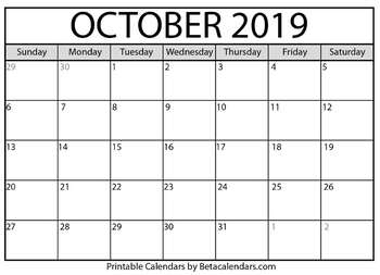 graphic about Blank October Calendar Printable known as Blank Oct 2019 Calendar Printable
