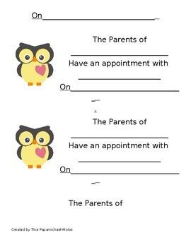 Blank Owl Appointmnet Cards