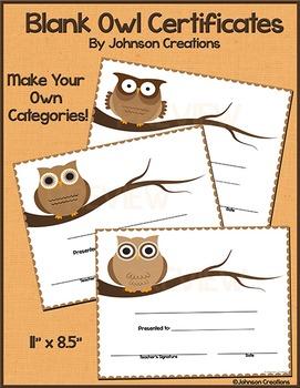 Blank Owl Certificates