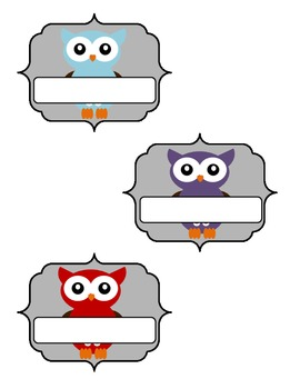 Blank Owl Classroom Labels