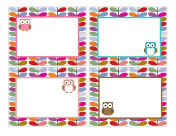 Owl Word Wall Cards