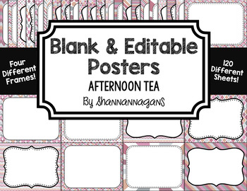 Blank Page or Poster Templates (11x8.5) - Afternoon Tea