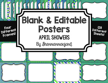 Blank Page or Poster Templates (11x8.5) - April Showers