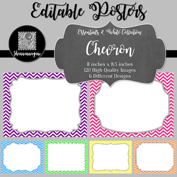 Blank Poster Templates (11x8.5) Essentials & White: Chevron