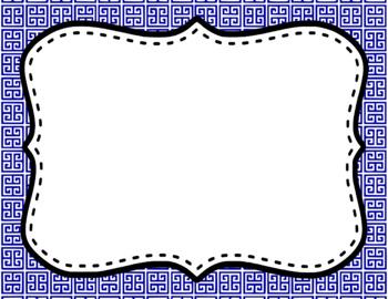 Blank Page or Poster Templates (11x8.5) - Basics: Greek Key & White
