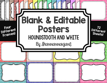 Blank Page or Poster Templates (11x8.5) - Basics: Houndstooth & White