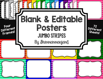 Blank Page or Poster Templates (11x8.5) - Basics: Jumbo Stripes