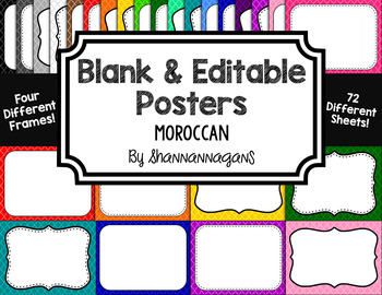 Blank Page or Poster Templates (11x8.5) - Basics: Moroccan
