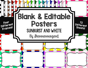 Blank Page or Poster Templates (11x8.5) - Basics: Sunburst & White