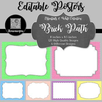 Blank Poster Templates (11x8.5) Essentials & White: Brick Path
