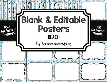 Blank Page or Poster Templates (11x8.5) - Beach