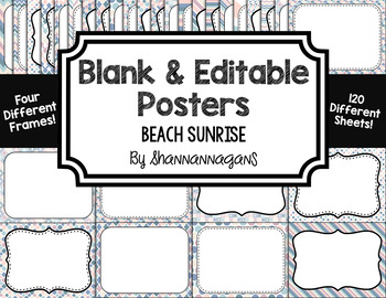Blank Page or Poster Templates (11x8.5) - Beach Sunrise