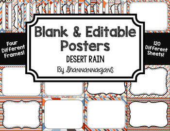 Blank Page or Poster Templates (11x8.5) - Desert Rain