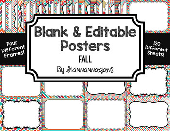 Blank Page or Poster Templates (11x8.5) - Fall