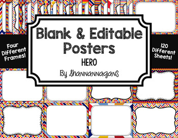 Blank Page or Poster Templates (11x8.5) - Hero