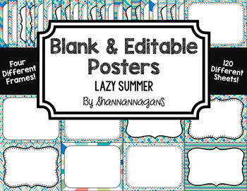Blank Page or Poster Templates (11x8.5) - Lazy Summer