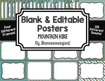 Blank Page or Poster Templates (11x8.5) - Mountain Hike