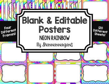 blank page or poster templates 11x8 5 neon rainbow tpt